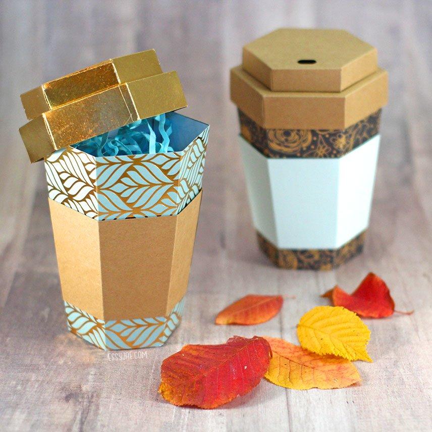 Coffee Cup Paper Gift Box Tutorial Essyjae
